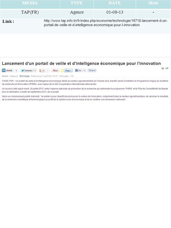 MEDIATYPEDATEMots TAP (FR)Agence01-08-13- Link : http://www.tap.info.tn/fr/index.php/economie/technologie/16718-lancement-d-un- portail-de-veille-et-d-intelligence-economique-pour-l-innovation