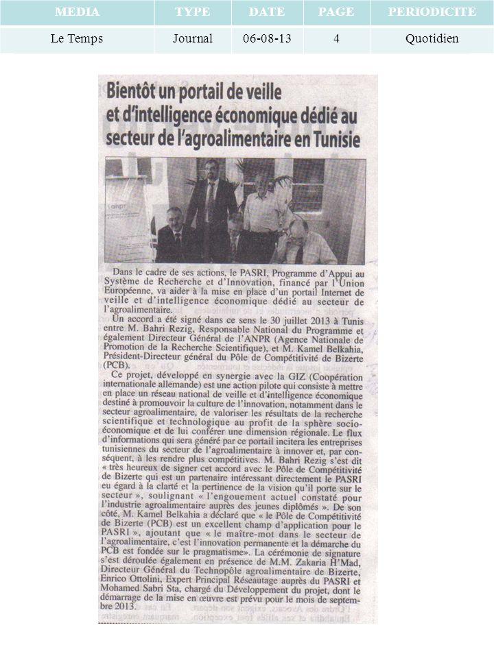 MEDIATYPEDATEPAGEPERIODICITE Le TempsJournal06-08-134Quotidien