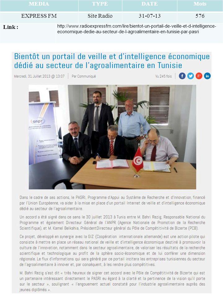 MEDIATYPEDATEMots EXPRESS FMSite Radio31-07-13576 Link : http://www.radioexpressfm.com/lire/bientot-un-portail-de-veille-et-d-intelligence- economique-dedie-au-secteur-de-l-agroalimentaire-en-tunisie-par-pasri