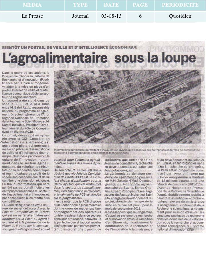 MEDIATYPEDATEPAGEPERIODICITE La PresseJournal03-08-136Quotidien