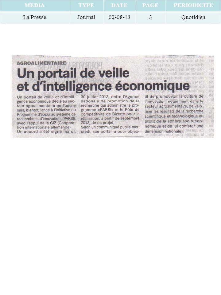 MEDIATYPEDATEPAGEPERIODICITE La PresseJournal02-08-133Quotidien
