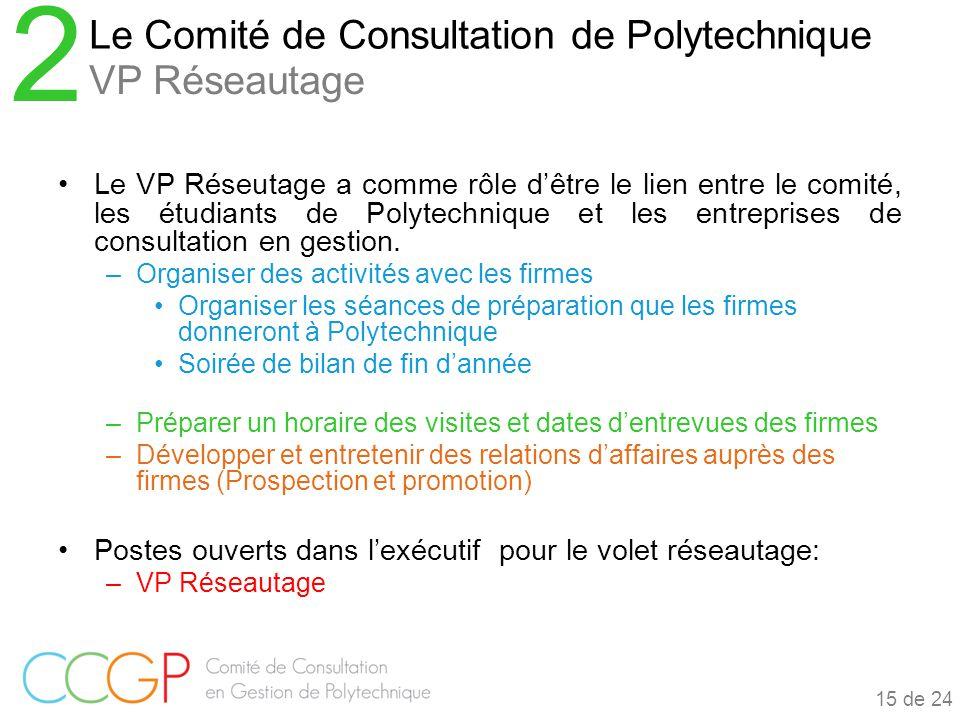 Le VP Réseutage a comme rôle d'être le lien entre le comité, les étudiants de Polytechnique et les entreprises de consultation en gestion.