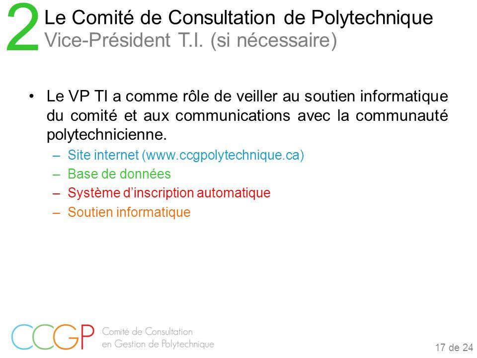 Le VP TI a comme rôle de veiller au soutien informatique du comité et aux communications avec la communauté polytechnicienne.