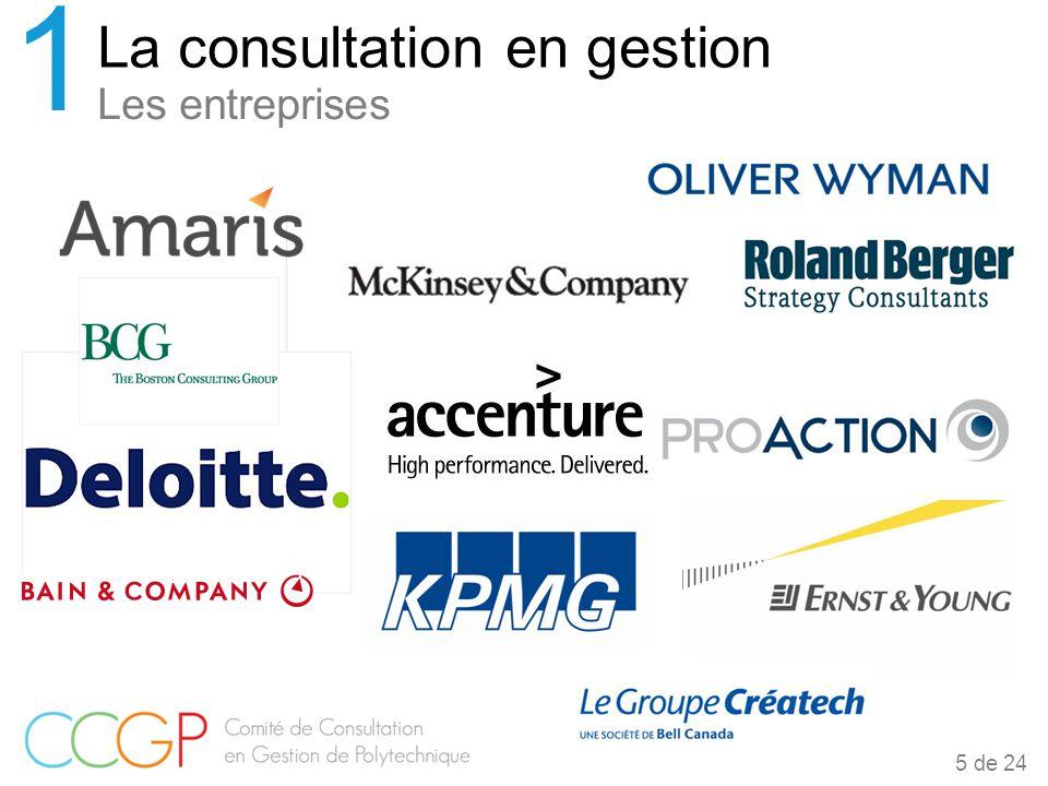 Les entreprises La consultation en gestion 1 5 de 24