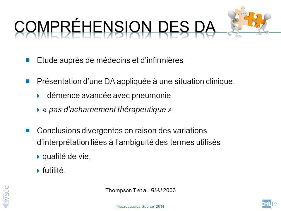 Mazzocato/La Source 2014 Thompson T et al. BMJ 2003 ■ Etude auprès de médecins et d'infirmières ■ Présentation d'une DA appliquée à une situation clin