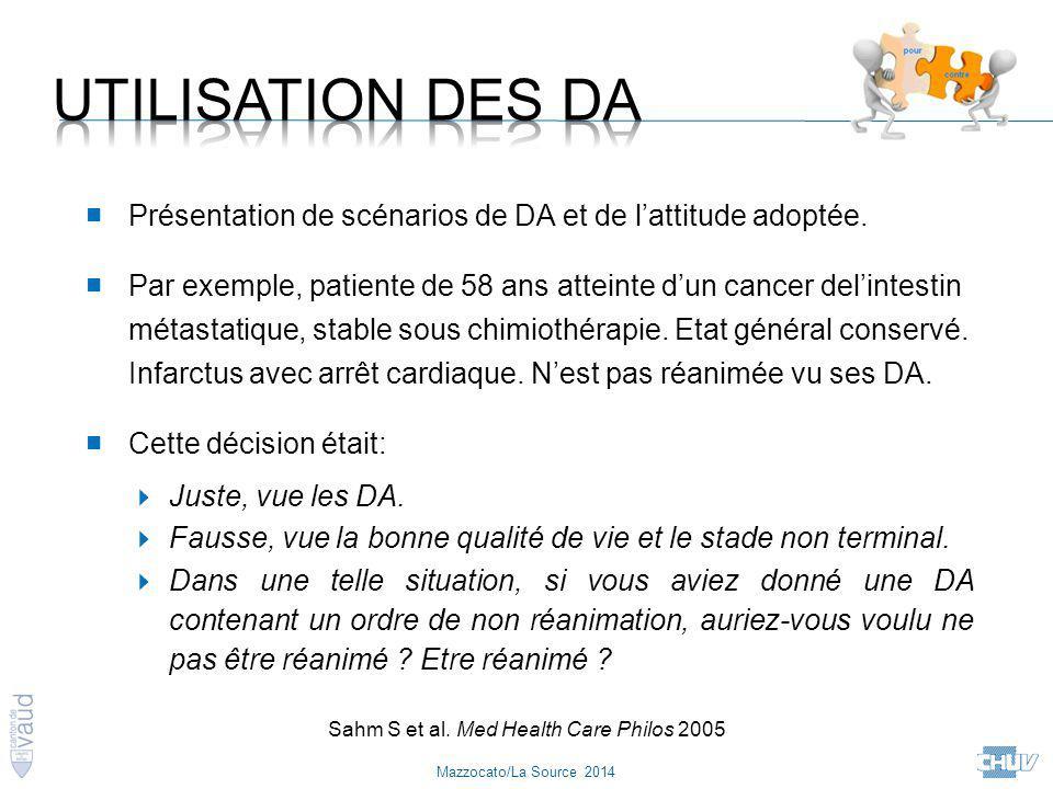 Mazzocato/La Source 2014 Sahm S et al. Med Health Care Philos 2005 ■ Présentation de scénarios de DA et de l'attitude adoptée. ■ Par exemple, patiente