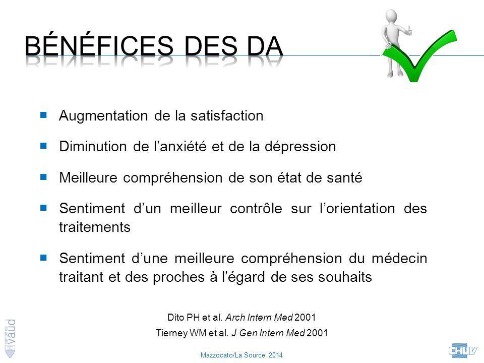 Mazzocato/La Source 2014 ■ Augmentation de la satisfaction ■ Diminution de l'anxiété et de la dépression ■ Meilleure compréhension de son état de sant