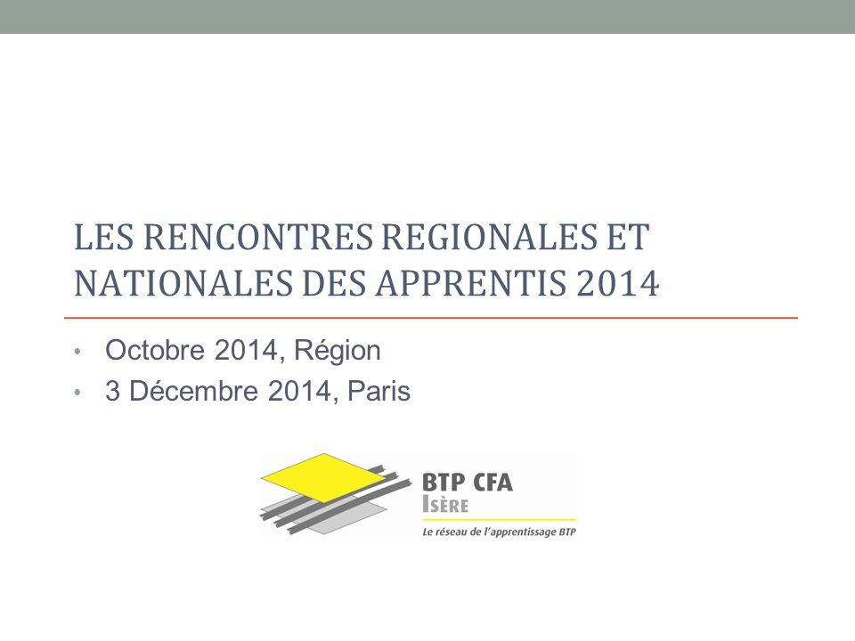 LES RENCONTRES REGIONALES ET NATIONALES DES APPRENTIS 2014 Octobre 2014, Région 3 Décembre 2014, Paris