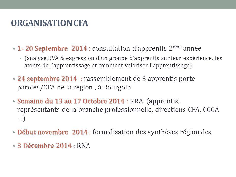 ORGANISATION CFA 1- 20 Septembre 2014 : 1- 20 Septembre 2014 : consultation d'apprentis 2 ème année (analyse BVA & expression d'un groupe d'apprentis sur leur expérience, les atouts de l'apprentissage et comment valoriser l'apprentissage) 24 septembre 2014 : 24 septembre 2014 : rassemblement de 3 apprentis porte paroles/CFA de la région, à Bourgoin Semaine du 13 au 17 Octobre 2014 Semaine du 13 au 17 Octobre 2014 : RRA (apprentis, représentants de la branche professionnelle, directions CFA, CCCA …) Début novembre 2014 Début novembre 2014 : formalisation des synthèses régionales 3 Décembre 2014 : 3 Décembre 2014 : RNA