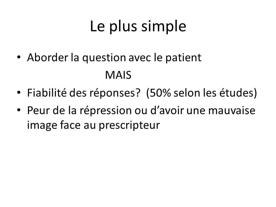 Le plus simple Aborder la question avec le patient MAIS Fiabilité des réponses? (50% selon les études) Peur de la répression ou d'avoir une mauvaise i