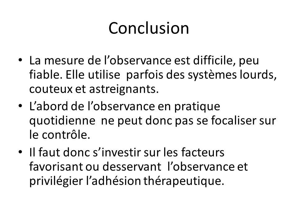 Conclusion La mesure de l'observance est difficile, peu fiable. Elle utilise parfois des systèmes lourds, couteux et astreignants. L'abord de l'observ