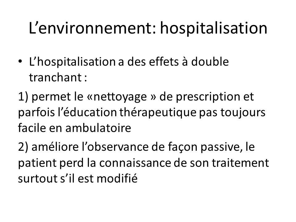 L'environnement: hospitalisation L'hospitalisation a des effets à double tranchant : 1) permet le «nettoyage » de prescription et parfois l'éducation thérapeutique pas toujours facile en ambulatoire 2) améliore l'observance de façon passive, le patient perd la connaissance de son traitement surtout s'il est modifié