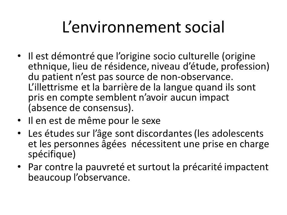L'environnement social Il est démontré que l'origine socio culturelle (origine ethnique, lieu de résidence, niveau d'étude, profession) du patient n'est pas source de non-observance.