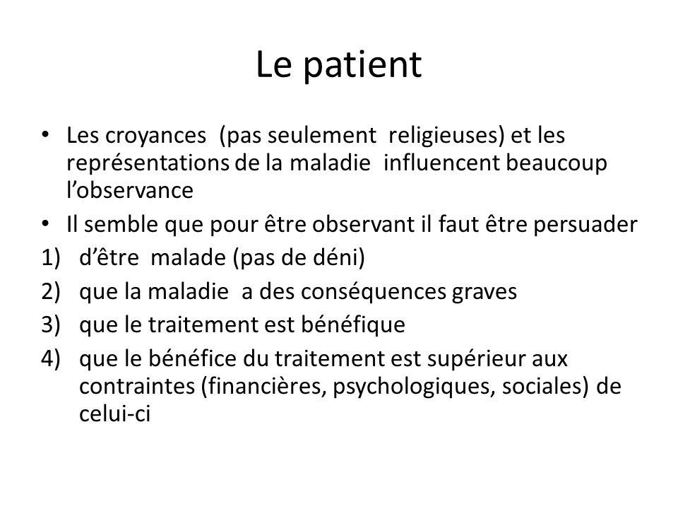 Le patient Les croyances (pas seulement religieuses) et les représentations de la maladie influencent beaucoup l'observance Il semble que pour être ob
