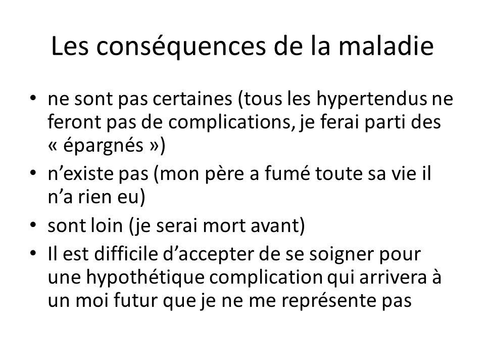 Les conséquences de la maladie ne sont pas certaines (tous les hypertendus ne feront pas de complications, je ferai parti des « épargnés ») n'existe p