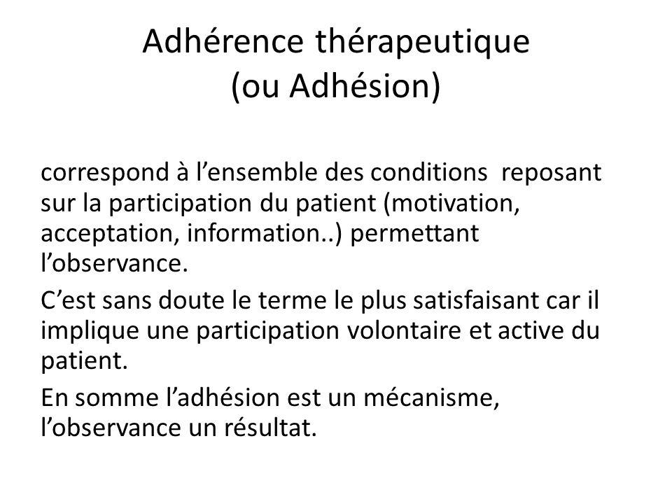 Adhérence thérapeutique (ou Adhésion) correspond à l'ensemble des conditions reposant sur la participation du patient (motivation, acceptation, information..) permettant l'observance.