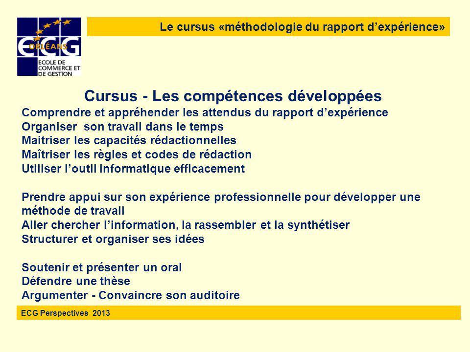 Le cursus «méthodologie du rapport d'expérience» ECG Perspectives 2013 L'évaluation portera uniquement sur le rapport Un même jury examinera  L'écrit : le rapport d'expérience  La soutenance : le power point support + l'oral