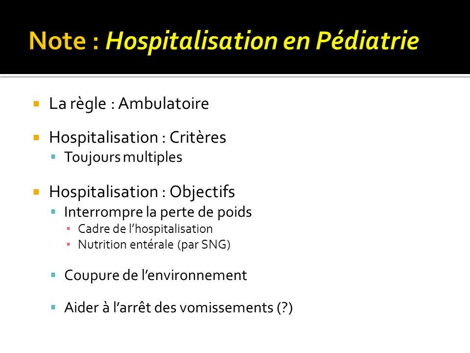  La règle : Ambulatoire  Hospitalisation : Critères  Toujours multiples  Hospitalisation : Objectifs  Interrompre la perte de poids ▪ Cadre de l'