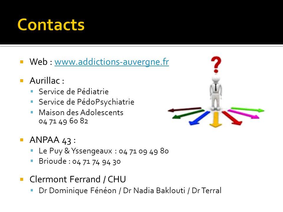 Web : www.addictions-auvergne.frwww.addictions-auvergne.fr  Aurillac :  Service de Pédiatrie  Service de PédoPsychiatrie  Maison des Adolescents