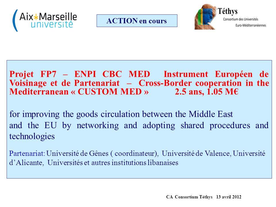 ACTION en cours Projet FP7 – ENPI CBC MED Instrument Européen de Voisinage et de Partenariat – Cross-Border cooperation in the Mediterranean « CUSTOM