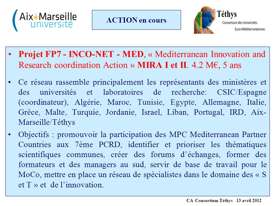 ACTION en cours Projet FP7 - INCO-NET - MED, « Mediterranean Innovation and Research coordination Action » MIRA I et II. 4.2 M€, 5 ans Ce réseau rasse