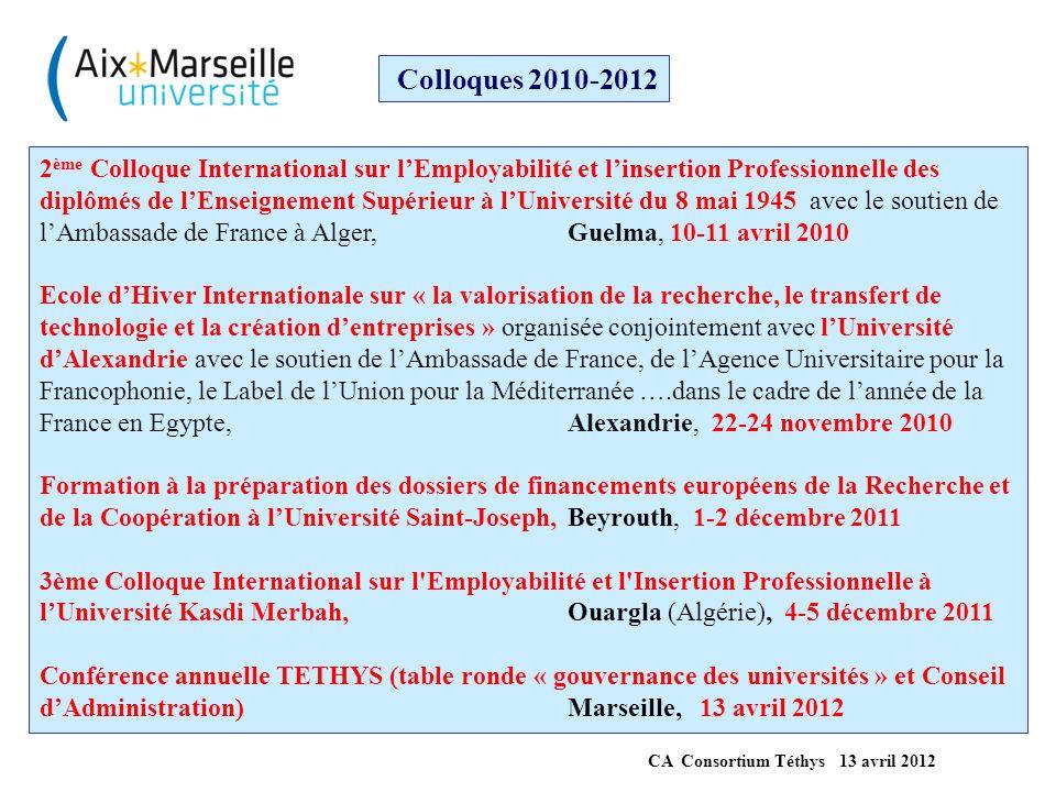 Colloque thématique en préparation Colloque International sur l'usage du Numérique dans l'Enseignement Supérieur Organisée conjointement avec l'université d'Oran Es Sénia avec le soutien de l'Institut Français d'Algérie de l'Ambassade de France à Alger Oran, début juillet 2012 CA Consortium Téthys 13 avril 2012