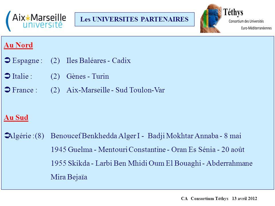 Les UNIVERSITES PARTENAIRES (suite)  Maroc :(7)Chouaib Doukkali El Jadida - Cadi Ayyad Marrakech - HassanII/Mohammedia-Casablanca - Mohammed I/Oujda- Mohammed V/Rabat - Abdelmalek Essaâdi Tanger/Tétouan - Hassan I Settat  Tunisie :(6)Carthage - Kairouan - Monastir - Sfax - Sousse - Tunis El Manar A l'Est  Egypte : (5)Alexandrie - Assiut - Helwan - Le Caire - MUST 6th October city  Liban: (3) Balamand Tripoli - Libanaise Beyrouth - Saint-Joseph Beyrouth CA Consortium Téthys 13 avril 2012
