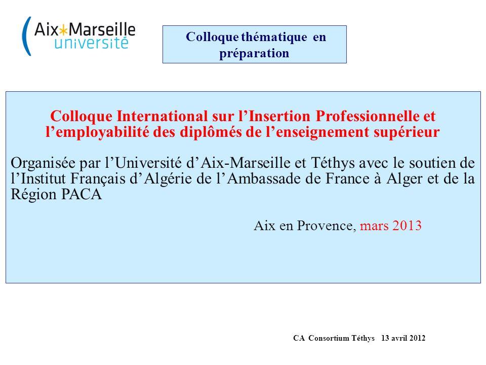 MERCI pour votre ATTENTION Nombre de projets nationaux, internationaux et européens déposés : plus d'une trentaine pour 48.55 M€ demandés * Nombre de projets acceptés : une vingtaine pour 32.5 M€ obtenus (plus de 50 % de cette somme a bénéficié aux MPC) Aix-Marseille Université impliquée dans 15 projets (6 coordinateur, 9 partenaire) * Nombre de séminaires de travail : Plus de 30 manifestations BILAN des ACTIVITES 2000-2012 [élaboré à partir des informations (partielles) disponibles au bureau de coordination Téthys de Marseille]