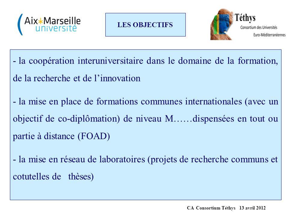 LES OBJECTIFS - la coopération interuniversitaire dans le domaine de la formation, de la recherche et de l'innovation - la mise en place de formations
