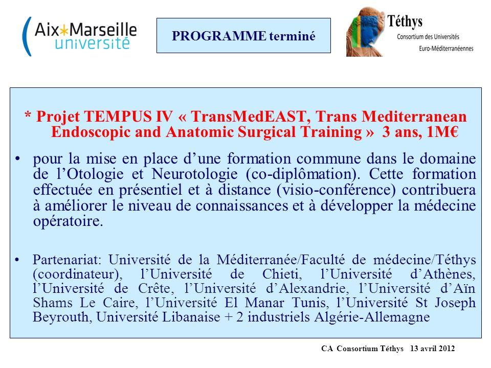 PROGRAMME terminé * Projet TEMPUS IV « TransMedEAST, Trans Mediterranean Endoscopic and Anatomic Surgical Training » 3 ans, 1M€ pour la mise en place