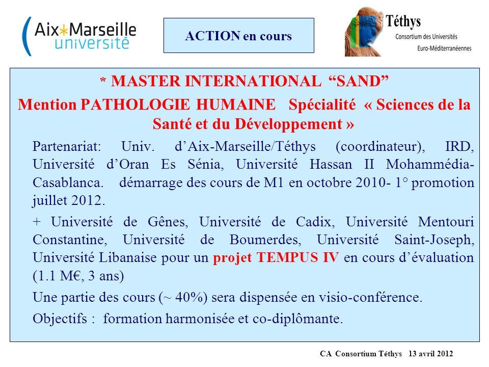 """ACTION en cours * MASTER INTERNATIONAL """"SAND"""" Mention PATHOLOGIE HUMAINE Spécialité « Sciences de la Santé et du Développement » Partenariat: Univ. d'"""