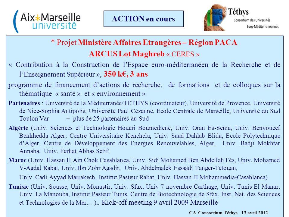 ACTION en cours * Projet Ministère Affaires Etrangères – Région PACA ARCUS Lot Maghreb « CERES » « Contribution à la Construction de l'Espace euro-méd