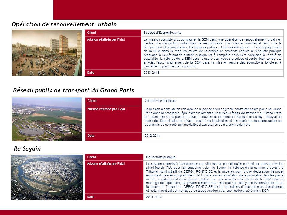 ClientSociété d'Economie Mixte Mission réalisée par Fidal La mission consiste à accompagner la SEM dans une opération de renouvellement urbain en cent