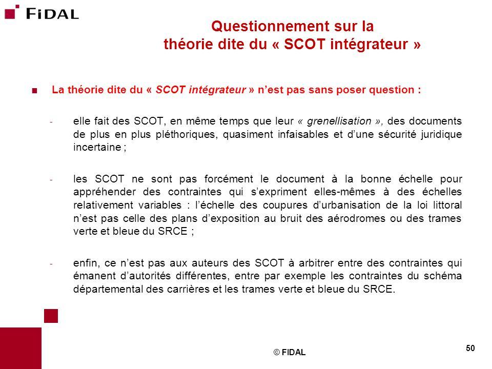  La théorie dite du « SCOT intégrateur » n'est pas sans poser question : - elle fait des SCOT, en même temps que leur « grenellisation », des documen
