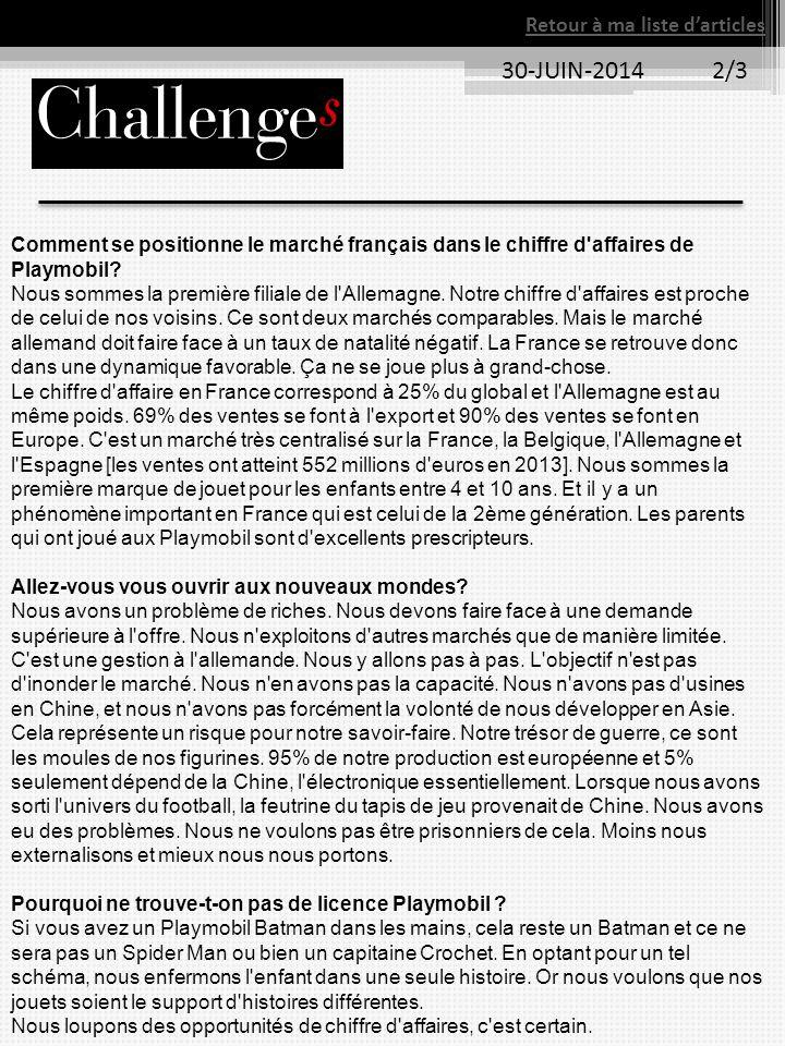 30-JUIN-2014 2/3 Retour à ma liste d'articles Comment se positionne le marché français dans le chiffre d'affaires de Playmobil? Nous sommes la premièr
