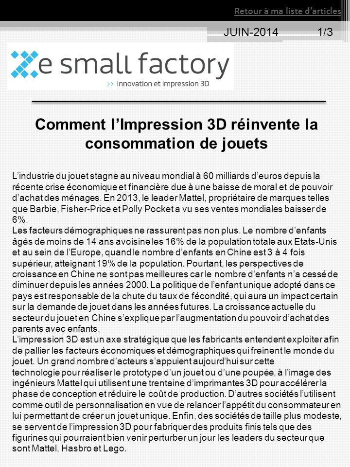 JUIN-20141/3 Retour à ma liste d'articles Comment l'Impression 3D réinvente la consommation de jouets L'industrie du jouet stagne au niveau mondial à