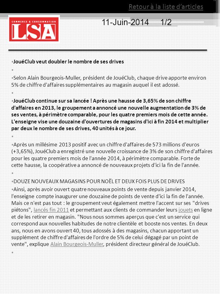 11-Juin-20141/2 JouéClub veut doubler le nombre de ses drives Selon Alain Bourgeois-Muller, président de JouéClub, chaque drive apporte environ 5% de