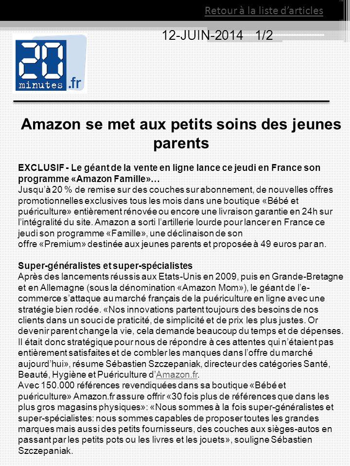Retour à la liste d'articles 12-JUIN-2014 1/2 Amazon se met aux petits soins des jeunes parents EXCLUSIF - Le géant de la vente en ligne lance ce jeud