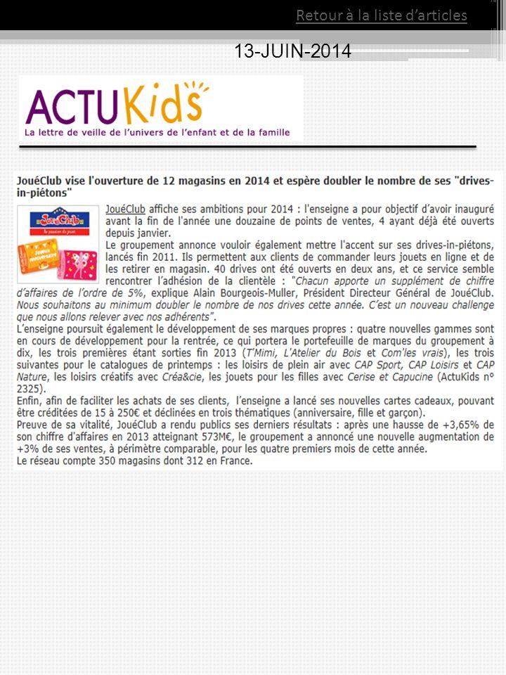 Retour à la liste d'articles 13-JUIN-2014
