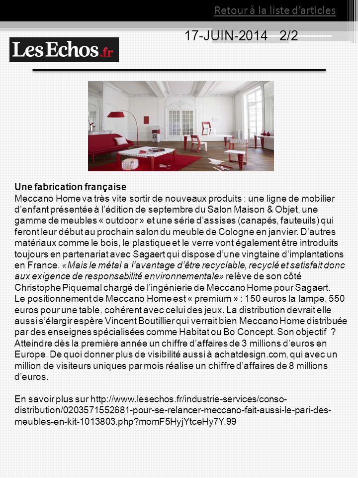 17-JUIN-20142/2 Retour à la liste d'articles Une fabrication française Meccano Home va très vite sortir de nouveaux produits : une ligne de mobilier d