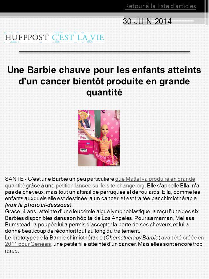 Une Barbie chauve pour les enfants atteints d'un cancer bientôt produite en grande quantité SANTE - C'est une Barbie un peu particulière que Mattel va