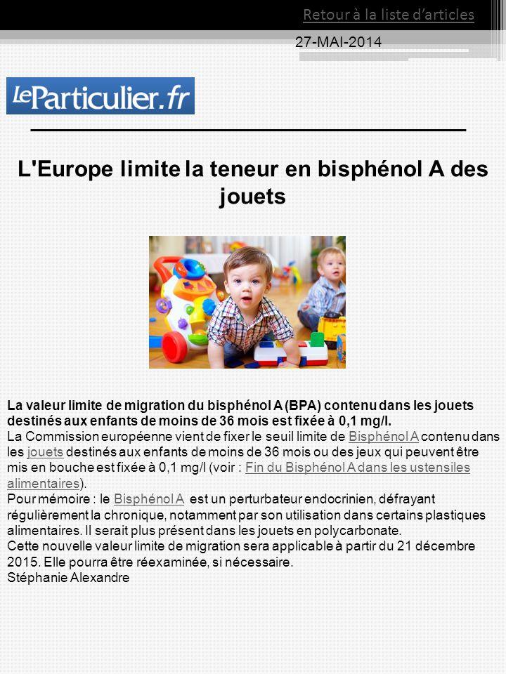 27-MAI-2014 Retour à la liste d'articles L'Europe limite la teneur en bisphénol A des jouets La valeur limite de migration du bisphénol A (BPA) conten