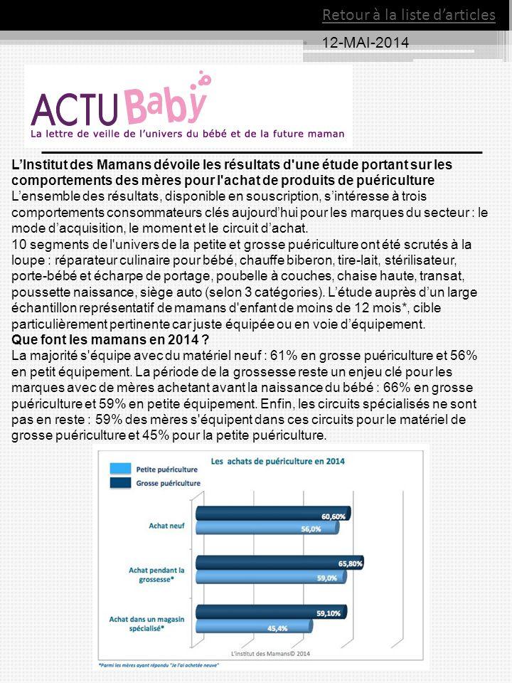 12-MAI-2014 Retour à la liste d'articles L'Institut des Mamans dévoile les résultats d'une étude portant sur les comportements des mères pour l'achat
