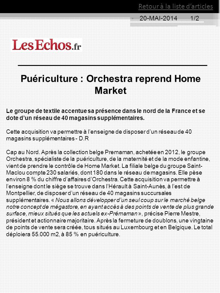 Retour à la liste d'articles 20-MAI-20141/2 Puériculture : Orchestra reprend Home Market Le groupe de textile accentue sa présence dans le nord de la