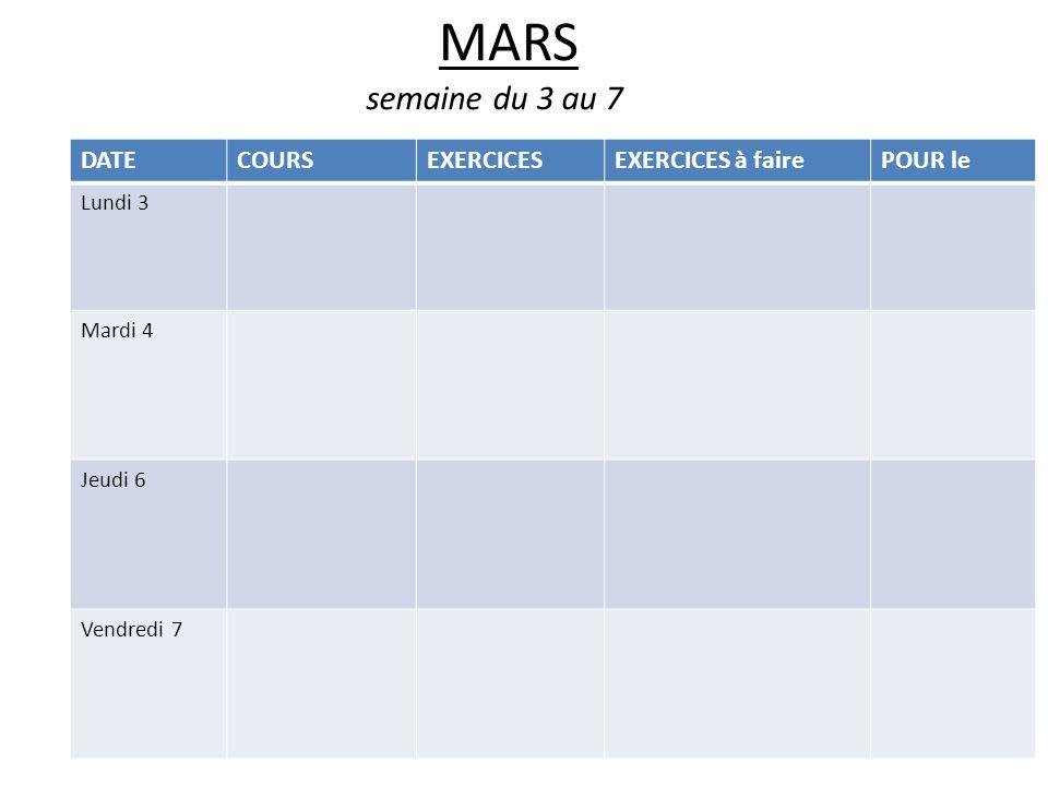 MARS semaine du 3 au 7 DATECOURSEXERCICESEXERCICES à fairePOUR le Lundi 3 Mardi 4 Jeudi 6 Vendredi 7