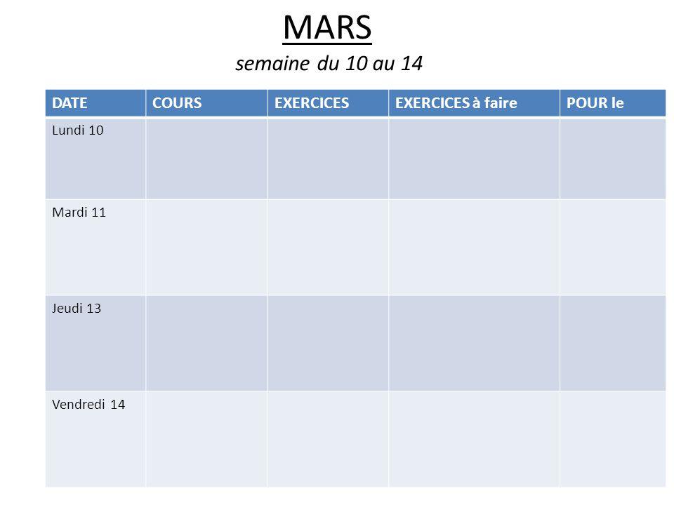 MARS semaine du 10 au 14 DATECOURSEXERCICESEXERCICES à fairePOUR le Lundi 10 Mardi 11 Jeudi 13 Vendredi 14