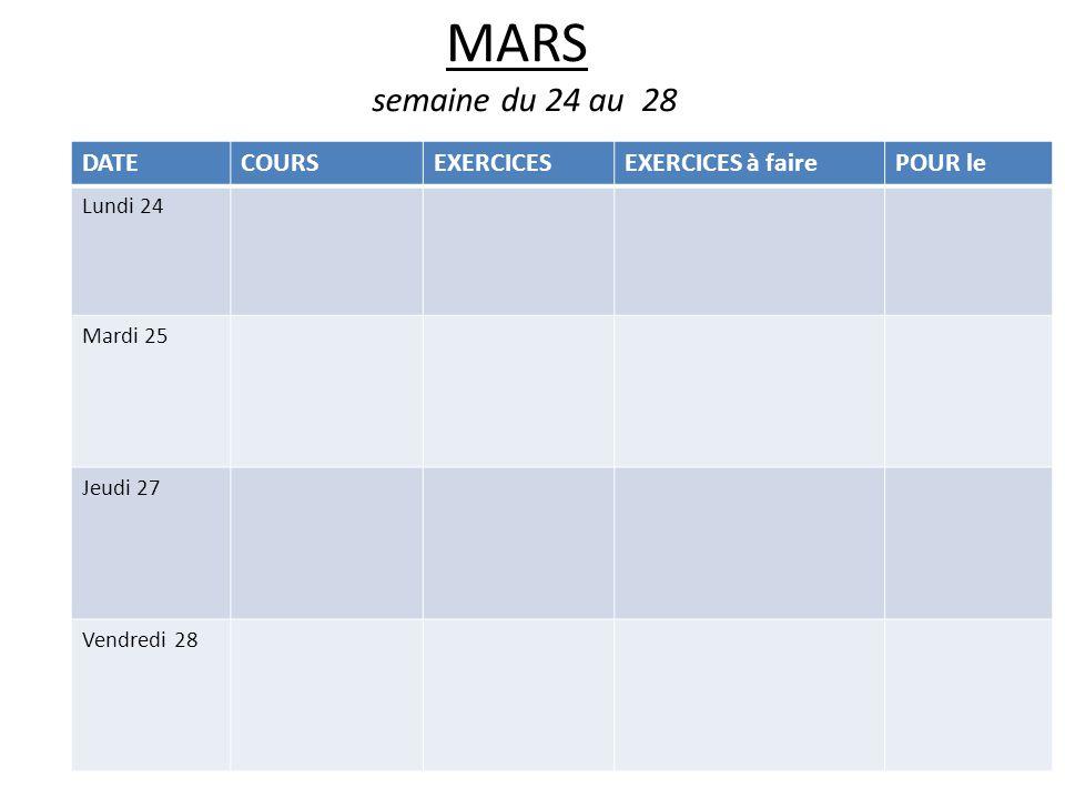 MARS semaine du 24 au 28 DATECOURSEXERCICESEXERCICES à fairePOUR le Lundi 24 Mardi 25 Jeudi 27 Vendredi 28