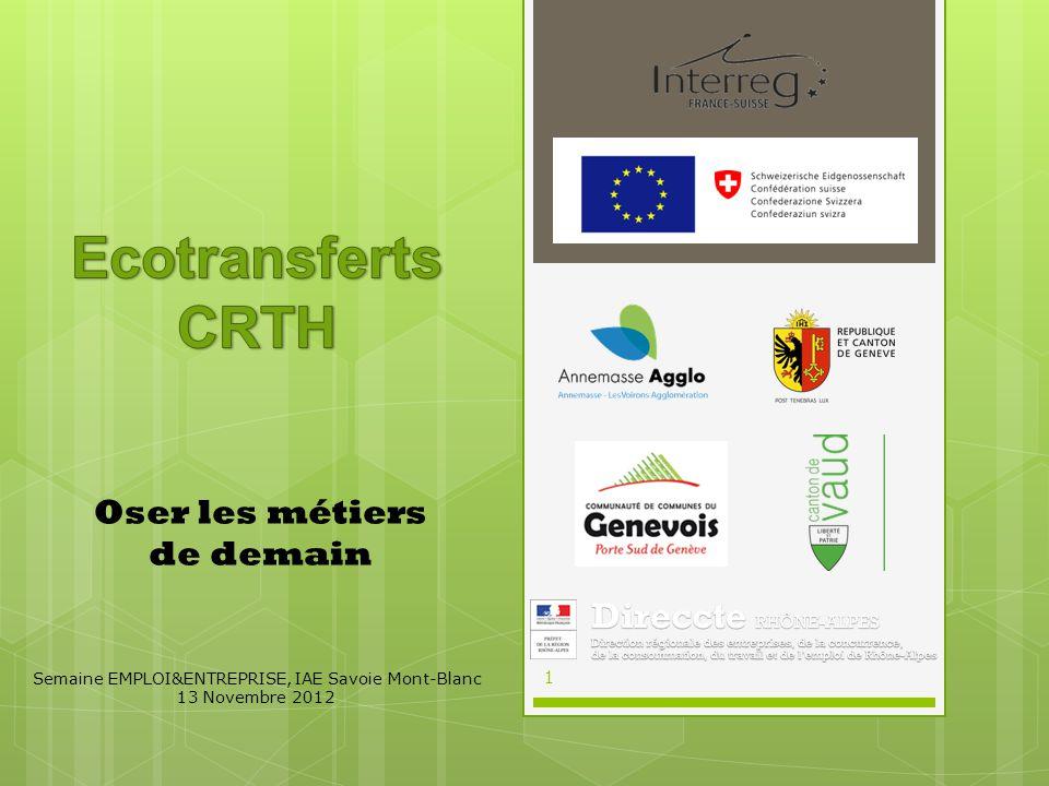 Oser les métiers de demain Semaine EMPLOI&ENTREPRISE, IAE Savoie Mont-Blanc 13 Novembre 2012 1