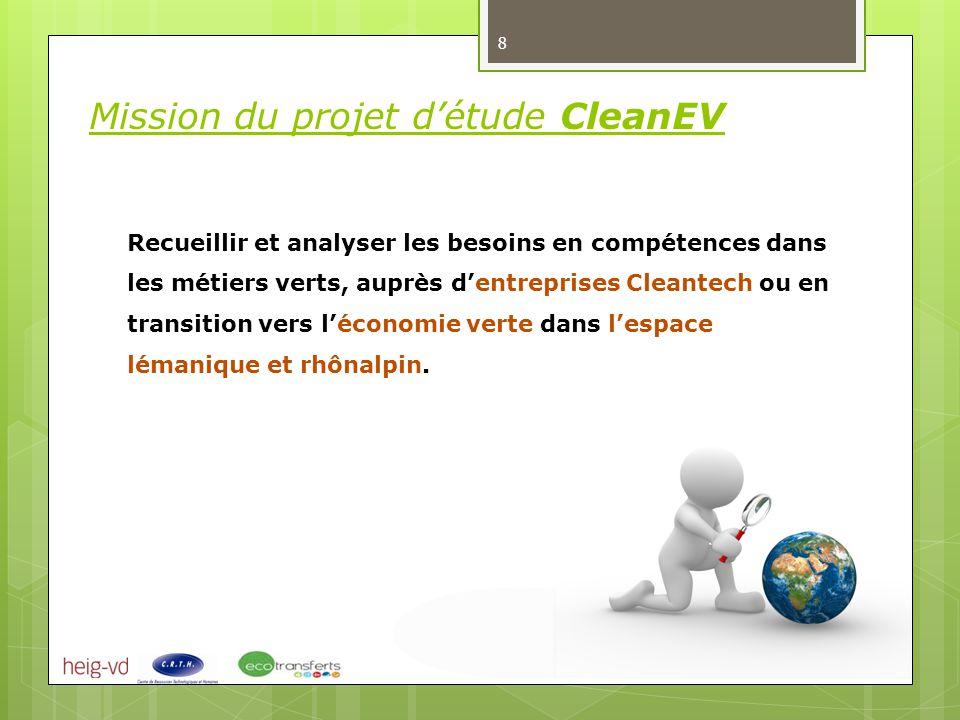 Recueillir et analyser les besoins en compétences dans les métiers verts, auprès d'entreprises Cleantech ou en transition vers l'économie verte dans l'espace lémanique et rhônalpin.
