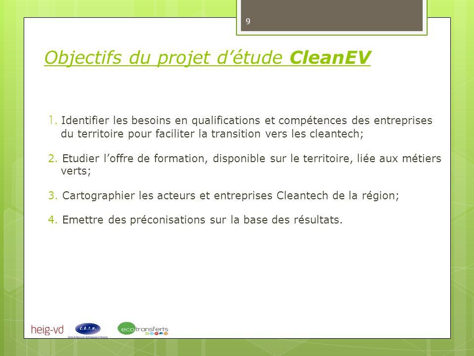 1. Identifier les besoins en qualifications et compétences des entreprises du territoire pour faciliter la transition vers les cleantech; 2. Etudier l